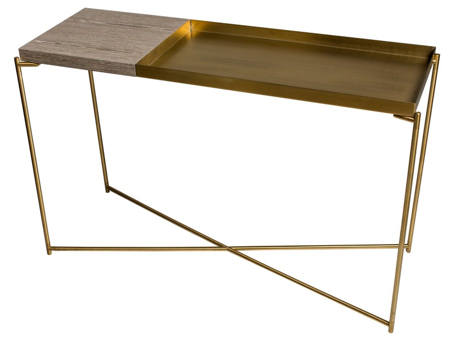 Iris Brass Large Console Table with Large Tray